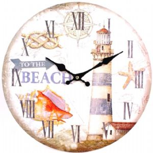 Lighthouse To The Beach 44911 - Large Rustic Retro Kitchen Wall Clock 34cm